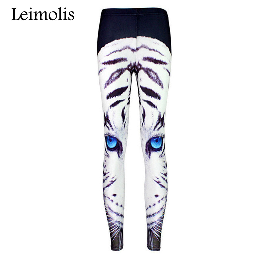 Leimolis 3D Printed Fitness Push Up Workout Leggings Women Gothic Angry White Tiger Plus Size High Waist Punk Rock Pants