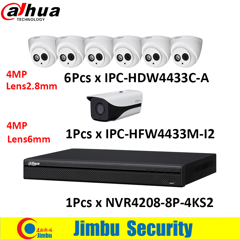 Dahua NVR kit 8CH 4K video recorder NVR4208 8P 4KS2 IP camera 4mp 6 pcs IPC