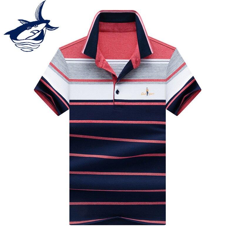New Fashion Striped   Polo   Shirt Men Clothes 2018 High Quality Cotton Business   polos   para hombre Blue Green