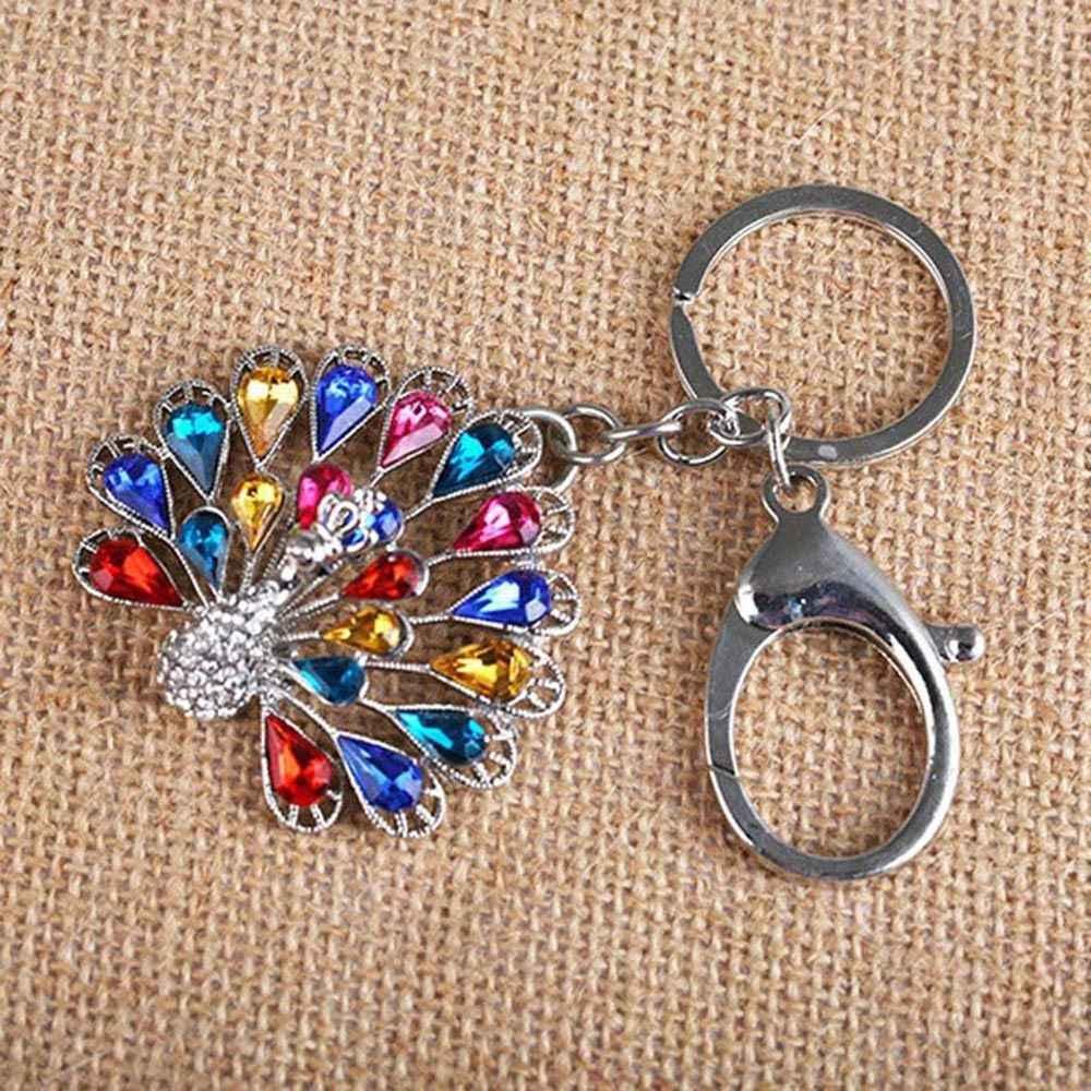1 шт. модный брелок для ключей Разноцветные кристаллы Павлин Красивые Животные сплав брелок кольца сумка для автомобильных ключей аксессуары подарок