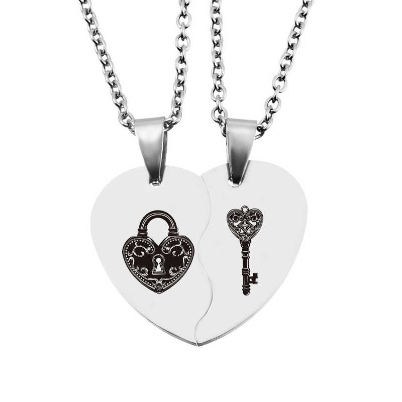 Fashion Stainless Steel Love Necklaces Jewelry Valentines Day Gift 2PCs Half Heart Carved Key Lock Necklaces & Pendants