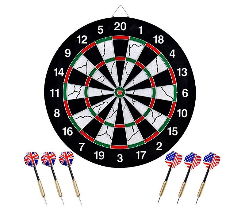 Litchi Dart Board, Double-sided Flocking Dartboard with 6 Brass Darts(18 inches) For Tournament,Tavem or Kid's Gift rowsfir dart board 6 darts set funny play dartboard soft head darts board game toy fun party accessories gambling new year gift