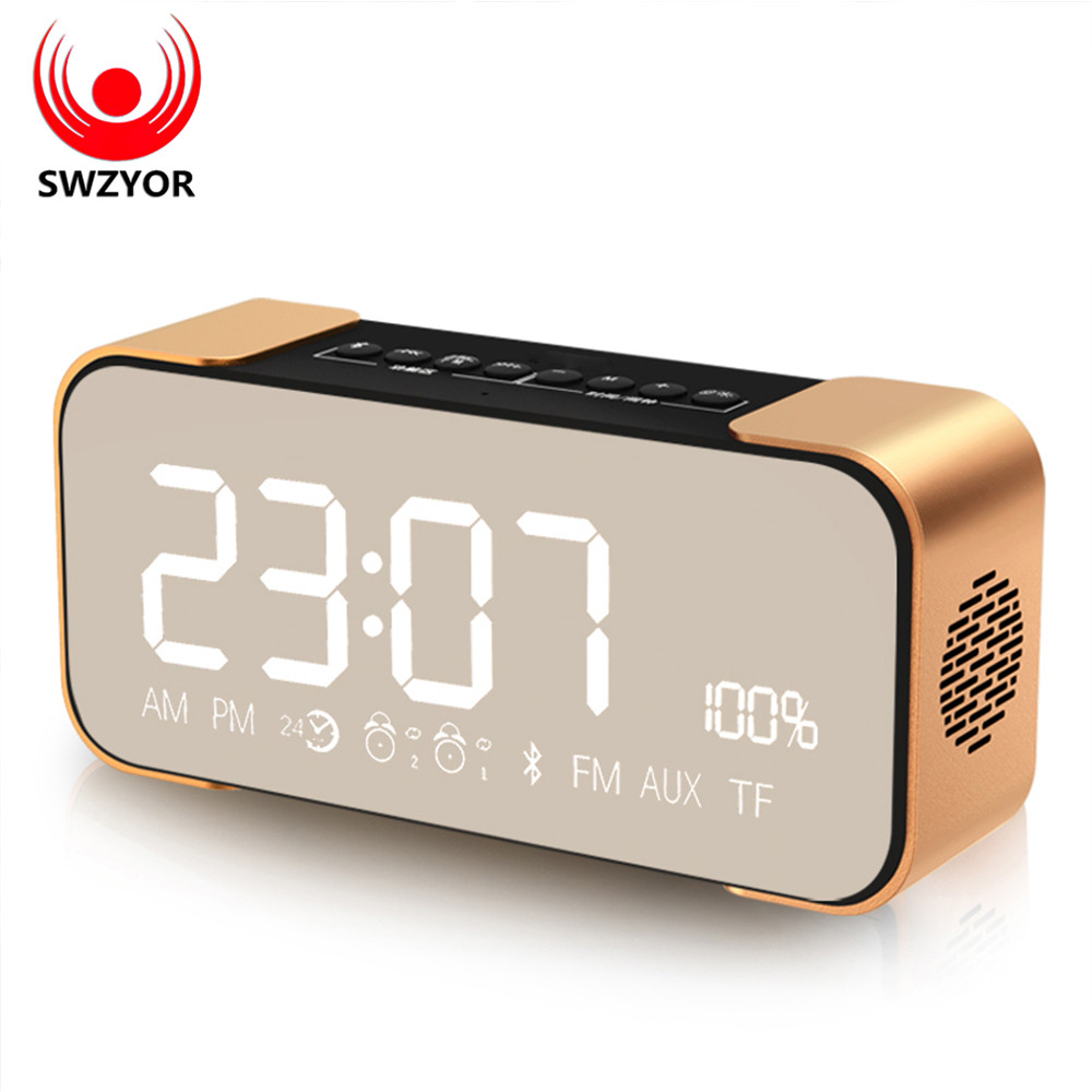 SWZYOR PTH305 Bluetooth Speaker Wireless Stereo Aluminum Portable FM Radio Altavoz Support Time clock Alarm Clock TF Card portable bluetooth speaker wireless alarm clock music stereo soundbox time display fm radio tf card altavoz speakers for phones