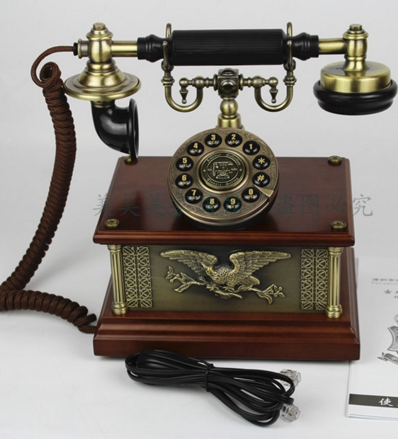 Украшения Европейский античный телефон из дерева гостиная спальня дома офисный кабель бизнес телефон