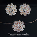 Rose Gold Plated Cubic Zirconia Simulated Diamond Large Flower Necklace And Earrings Women Fashion Jewelry Sets For Female JS093