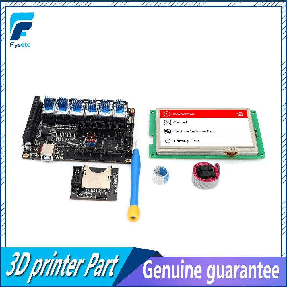 FYSETC F6 V1.3 TOUT-en-une Carte Mère + 4.3 Écran Tactile + 6 pcs TMC2100/TMC2208 /TMC2130 v1.2/DRV8825/S109/A4988/ST820
