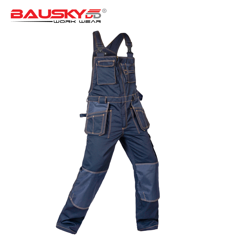Men's Bib Overalls Work Pants With Knee Pads Work Trousers Working Coveralls Men Workwear Free Shipping