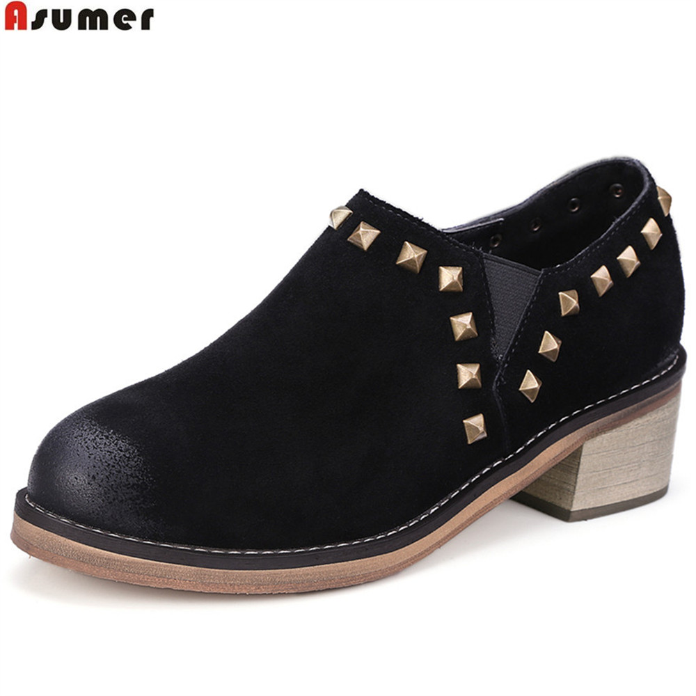ASUMER black brown gray fashion spring autumn ladies shoes round toe zip rivet women suede leather high heels shoes plus size asumer white spring autumn women shoes round toe ladies genuine leather flats shoes casual sneakers single shoes