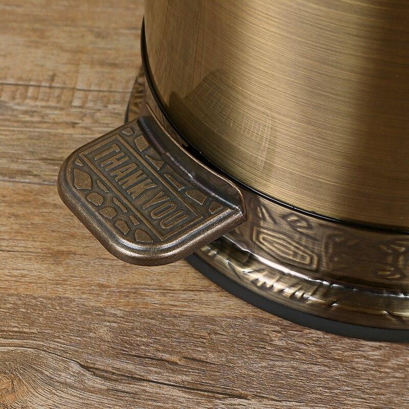 Moda 10/6L brązowy kolor metalowe ze stali nierdzewnej kubły na śmieci pojemników na śmieci z pedał nożny kosz na śmieci do dekoracji wnętrz LJT001B w Kosze na śmieci od Dom i ogród na  Grupa 2