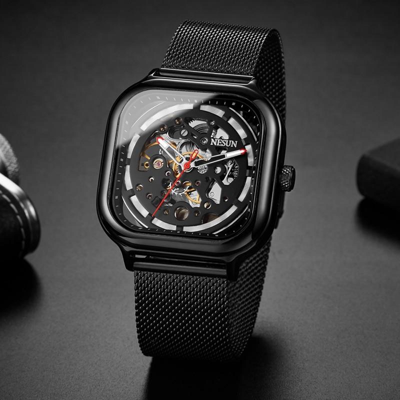 все цены на Switzerland Nesun Automatic Mechanical Watch Skeleton Clock Men Luxury Brand Men's Watches Waterproof relogio masculino N9505G-3 онлайн