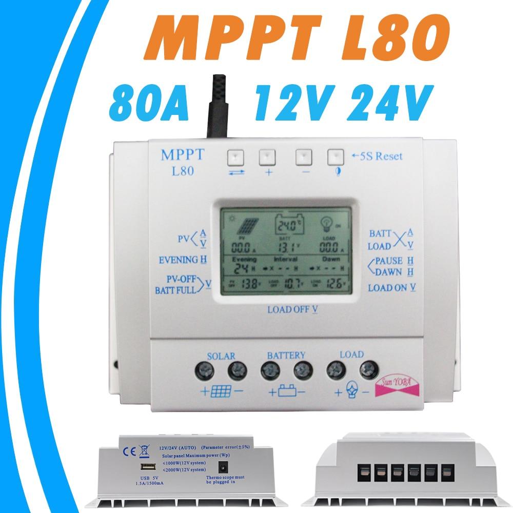 80A <font><b>Solar</b></font> <font><b>Charger</b></font> Controller USB 1.5A 5V Output 12V 24V LCD <font><b>Solar</b></font> <font><b>Panel</b></font> Regulator with Load Timer and Light Control for Lighting