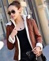 Motocicleta chaqueta de cuero mujeres invierno gruesa cuello de piel escudo trasquilado cremallera abrigo Casaco de Pele de Carneiro Z929