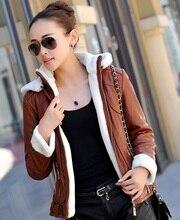 Motorcycle Leather Jacket Women Winter Thick Fur Collar Sheepskin Shearling Coat Zipper Overcoat Casaco de Pele de Carneiro Z929