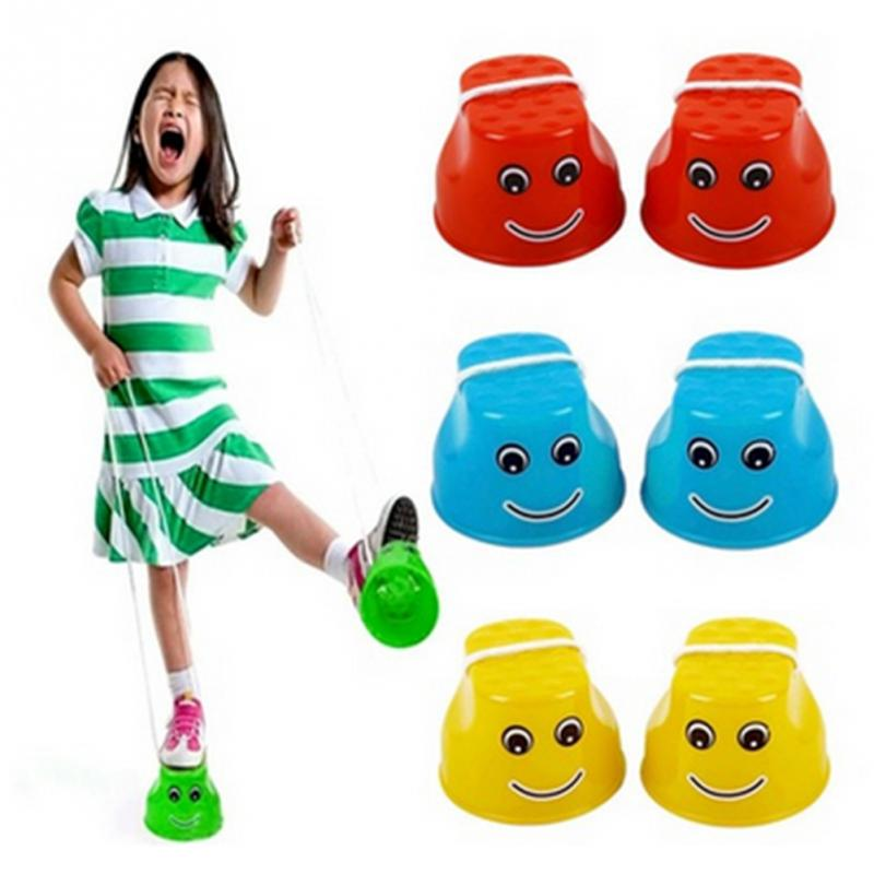 Boys Girls 2 pcs Jumping Stilts Walk Stilt Jump Outdoor Fun Sports Smiley Toy for Kids Children