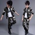 New 2016 Children's Clothing Sets Kids Boy girls Korean Clothes Set  Coats + Pants 2 Suit Child Kid Camouflage Sports Suits