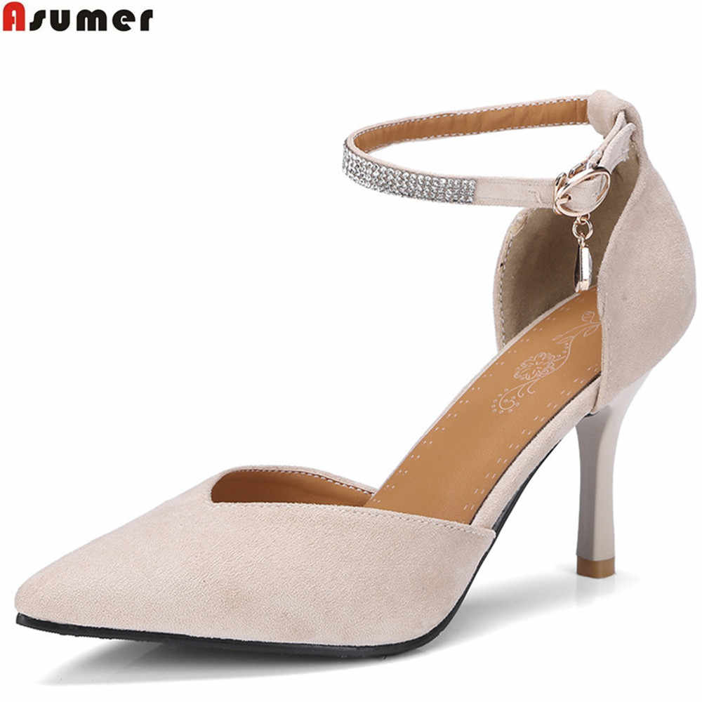 ASUMER שחור אדום אופנה אביב סתיו נעלי אישה הבוהן מחודדת אבזם נשים חתונה נעלי צאן דק העקב נשים גבוהה עקבים נעליים