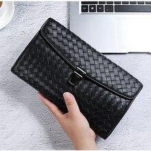 BAQI Brand Men Wallets Clutch Bag Genuine Leather Sheepskin Hand Knit Men Handbags 2019 Fashion High Quality Ipad Bag Men Casual недорого