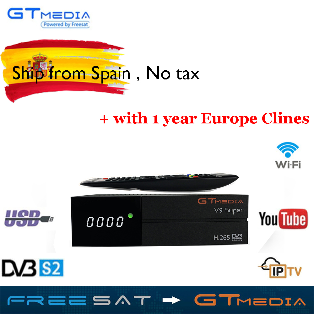 US $44 59 |Satellite TV Receiver Gtmedia V9 Super Power by freesat DVB S2  Built in WIFI 1 year 6lines Europe CCcam as a gift Support TV Box-in