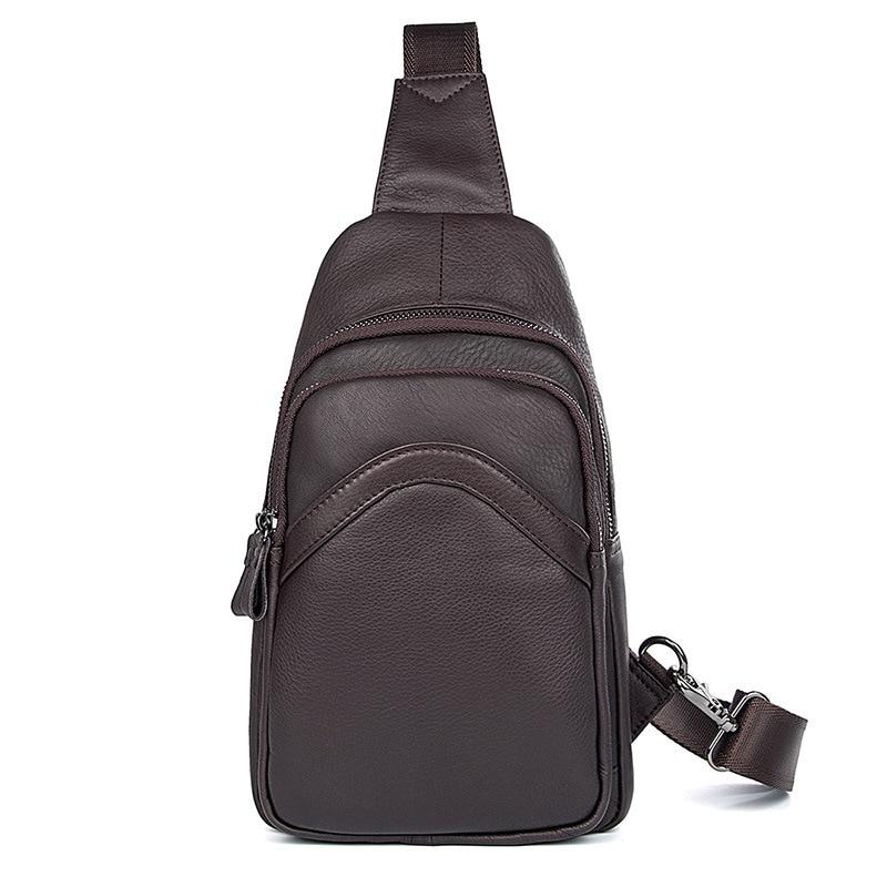Nesitu Good Quality Black Coffee Real Skin Genuine Leather Women Men Chest Bags Female Male Bag for mini ipad M4013