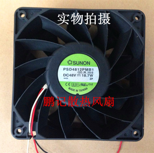 SUNON PSD4812PMB1 (2).R.155 Server Square Fan DC 48V 18.7W 3-wire free shipping for sunon gb1207ptv2 a 13 b4396 f gn dc 12v 2 2w 3 wire 3 pin connector 70mm 70x70x25mm server square cooling fan