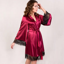 2018 New Hot Sexy Lingerie Silk Lace Black Kimono Intimate Sleepwear Robe  Night Gown Ladies Lace 3d3ba80a2