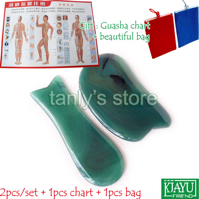 Фото Free shipping!  Natural Green Agate Stone Massage Tool Guasha beauty Board (knife + fish shape) 2pieces/set