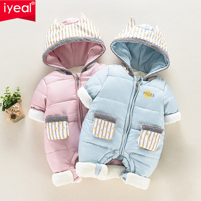 IYEAL Newborn Rompers Winter Cotton Thick Warm Baby Boy Girl Clothes Long Sleeve Hooded Jumpsuit Kids Outwear Snowsuit for 0-18M infant baby clothes sets warm long sleeve rompers newborn boy girl sweater christmas costume deer plush hooded outwear kids suit