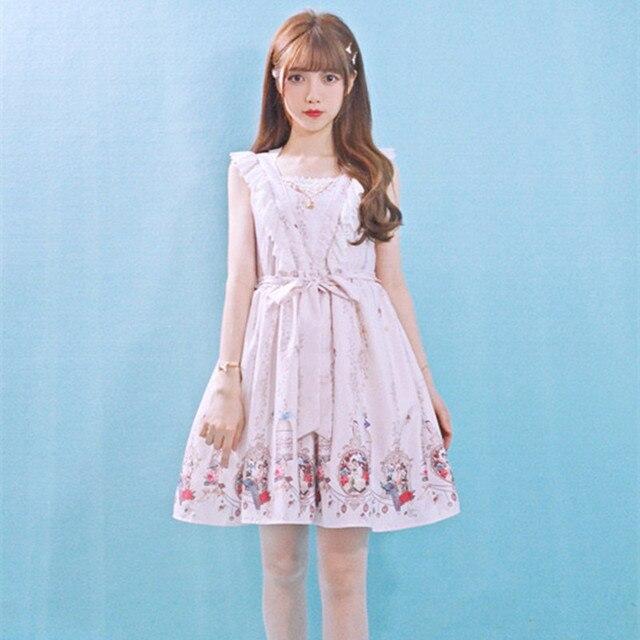 7c259d0888e9 Summer Lolita dress Female Soft sister Mori Girl Lace Slash neck ...