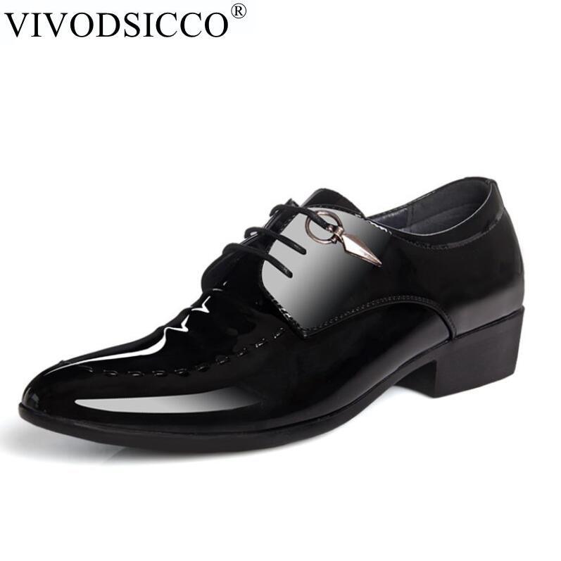 VIVODSICCO Italian stylist Men Dress Leather Shoes Simple Style Oxford Shoes Lace-up Men Formal Shoes Men Wedding Party Shoes mycolen men dress shoes simple style quality men oxford shoes lace up brand men formal shoes men leather wedding shoes