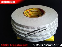 Wholesale 5 Rolls 12mm 50 Meters 3M Double Sides Adhesive Tape For LED Panel Phone Touch