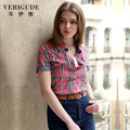Veri Gude Summer Style Plaid Shirt for Women Short Sleeve Cotton Fabric 100% Cotton Casual And Work Fit Slim Free Shipment