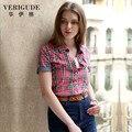 Veri gude summer style plaid shirt para la mujer de manga corta Tela de algodón 100% de Algodón Casual Y de Trabajo Slim Fit Libre envío