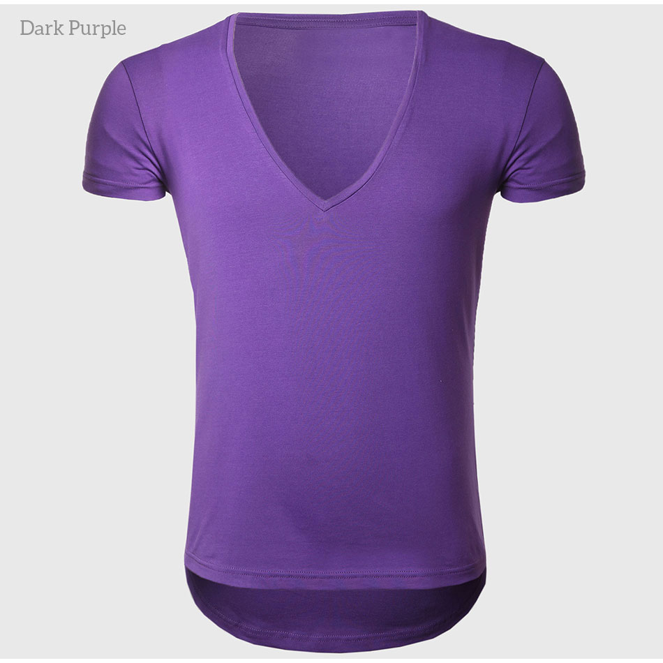 21 Colors Deep V Neck T-Shirt Men Fashion Compression Short Sleeve T Shirt Male Muscle Fitness Tight Summer Top Tees 40