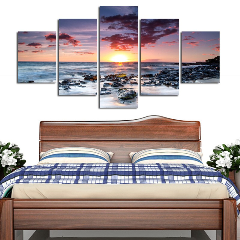 5 pieces framed Wall Art Picture Gift Home Decoration Canvas Print painting beautiful sea Sunset wholesale/E-WY-51