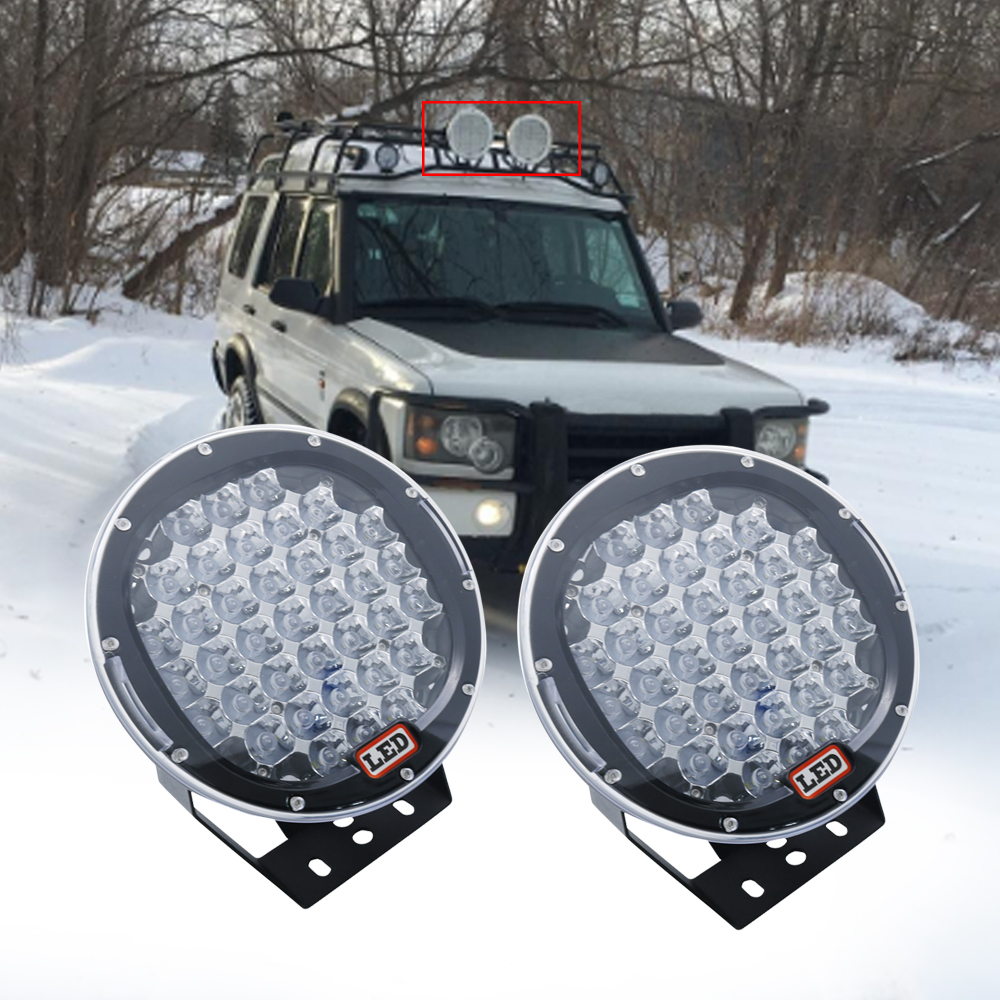 Pair 9inch 185W LED Spot Driving Lights Waterproof For Jeep Offroad 4x4 SUV Truck Cabin Boat
