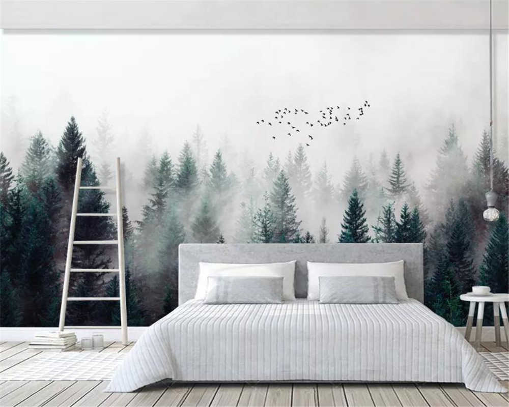 Beibehang مخصص كبيرة الطبيعي 3d خلفيات الضباب الغابات الضباب الطيور الحديثة 3d المعيشة غرفة التلفزيون خلفية جدار خلفيات للجدران 3 d