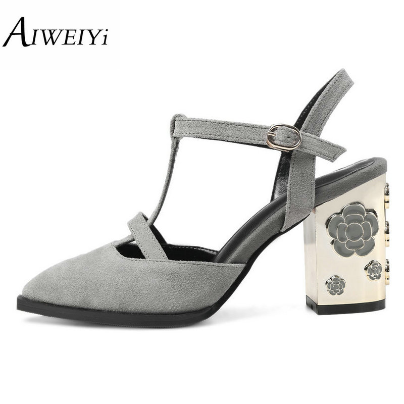 AIWEIYi 2017 Women Pumps Square High Heel Genuine Leather Pointed Toe Ankle Strap Slingback Ladies Wedding Shoes Size 34-43 2015 temperament high heel women pumps rhinestone ankle strap pointed toe ladies wedding shoes