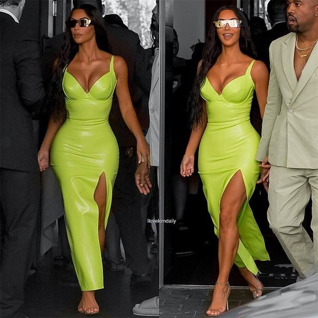 Synthetic Leather Halter Split Bodycon Kim Kardashian Outfit Dress 1