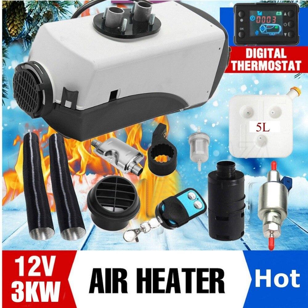 12 V 3000 W LCD Monitor de aire diesel calentador de combustible solo agujero 3KW para barcos autobús calentador de coche con control remoto control y silenciador para libre