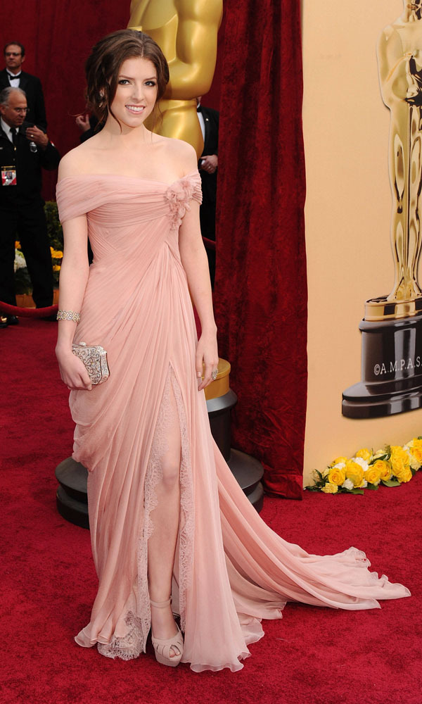 Sexy Designer Pink High Slit Floor Length Anna Kendrick -7759