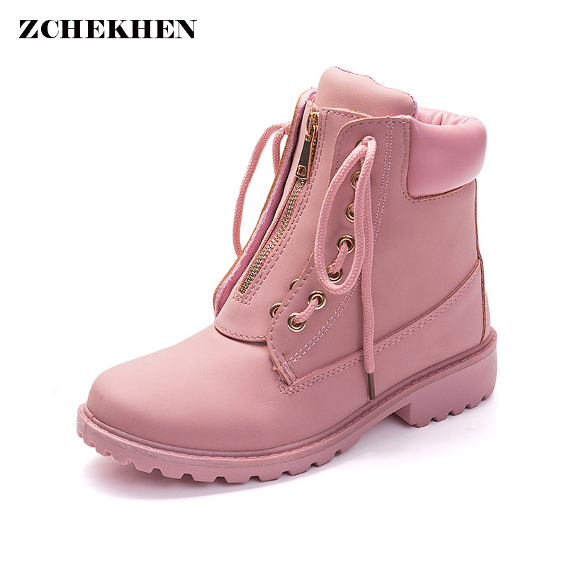 Fashion European Pink Black Cross tied Ankle Boots Flats Square Heel Zip Martin Boots PU Leather Woman Shoes Botas Female