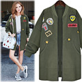 Plus size Autumn Fashion patch design Loose Baseball Jersey epaulet women trench coat 2016 FS0163
