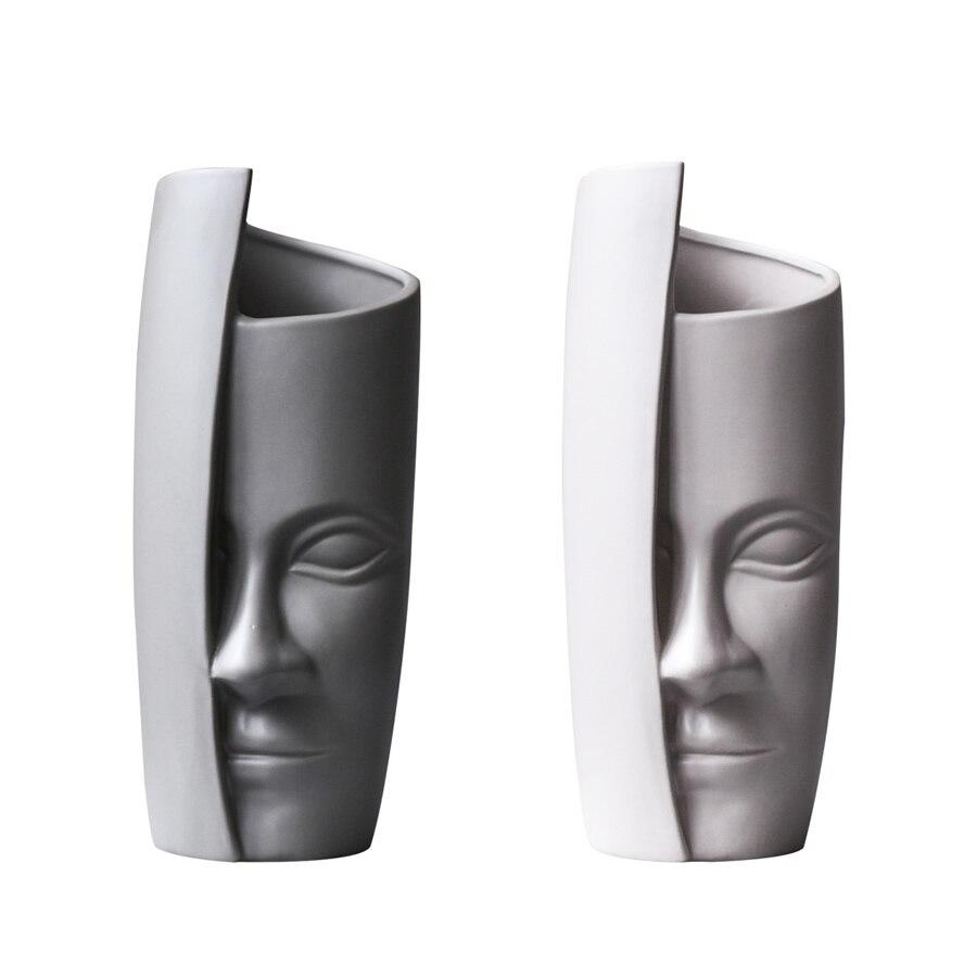 Conception Unique abstrait demi visage caractère en céramique vase bref art maison bureau bureau décoration fleur vase