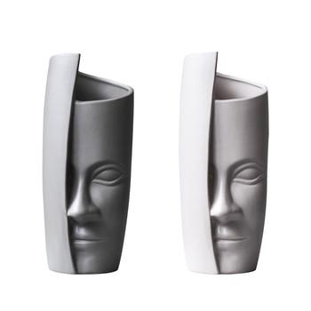 Unique design abstract half face character ceramic vase Brief art Home office desktop decoration flower vase