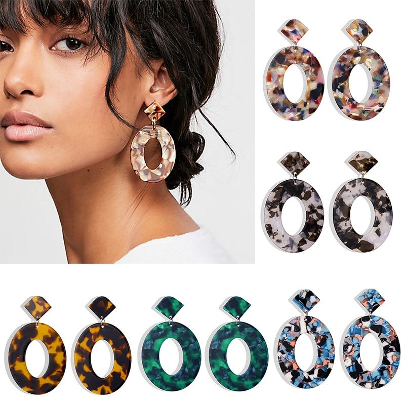 IPARAM Fashion Trend Acrylic Resin Oval Dangle Earrings For Women Geometry Big Circle Tortoiseshell Earrings Acetate Brincos
