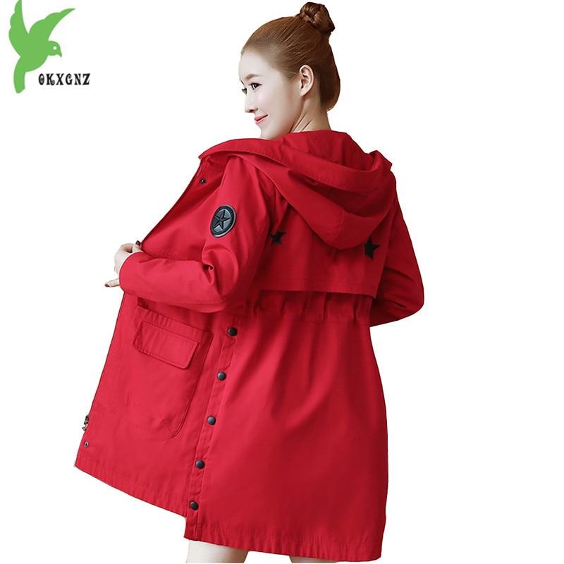 2018 Spring Women's   Trench   Coat Fashion Hooded Student Outerwear Plus size Slim Female Windbreaker Coat Medium length OKXGNZ1645
