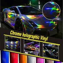 Silver holographic Chrome Vinyl Car Wrap Cover Film Hologram Chrome air release unique Luxury Car Wrap Foil Size :1.52*20M/Roll