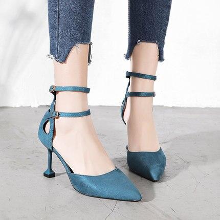 Bouche Hauts Pointu Net Printemps Stiletto Nouveau 2019 Femmes Chic 3 Chaussures Simples Sauvage Talons Profonde 2 De Peu 1 Rouge Femme Rétro xAArvwE0q