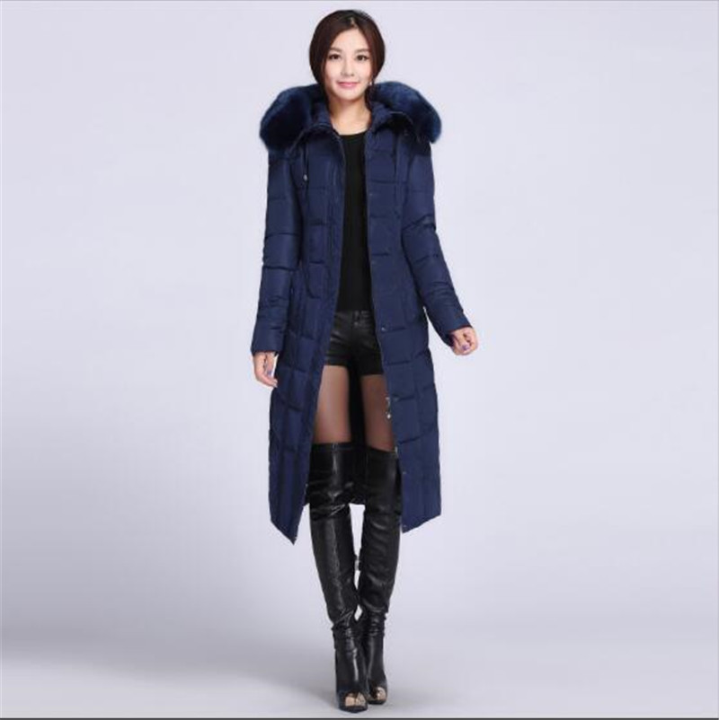 New 2016 Women Winter Hooded Fur collar Long Down jacket Coat Cultivate one's morality plus-size Thicken Keep warm Coat G1530
