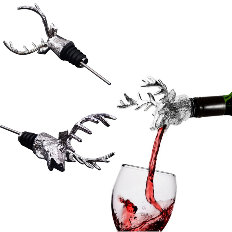 Stainless Steel Deer Stag Head Wine Pourer Unique Wine Bottle Stoppers Wine Aerators Bar Tools|Wine Pourers|   - AliExpress